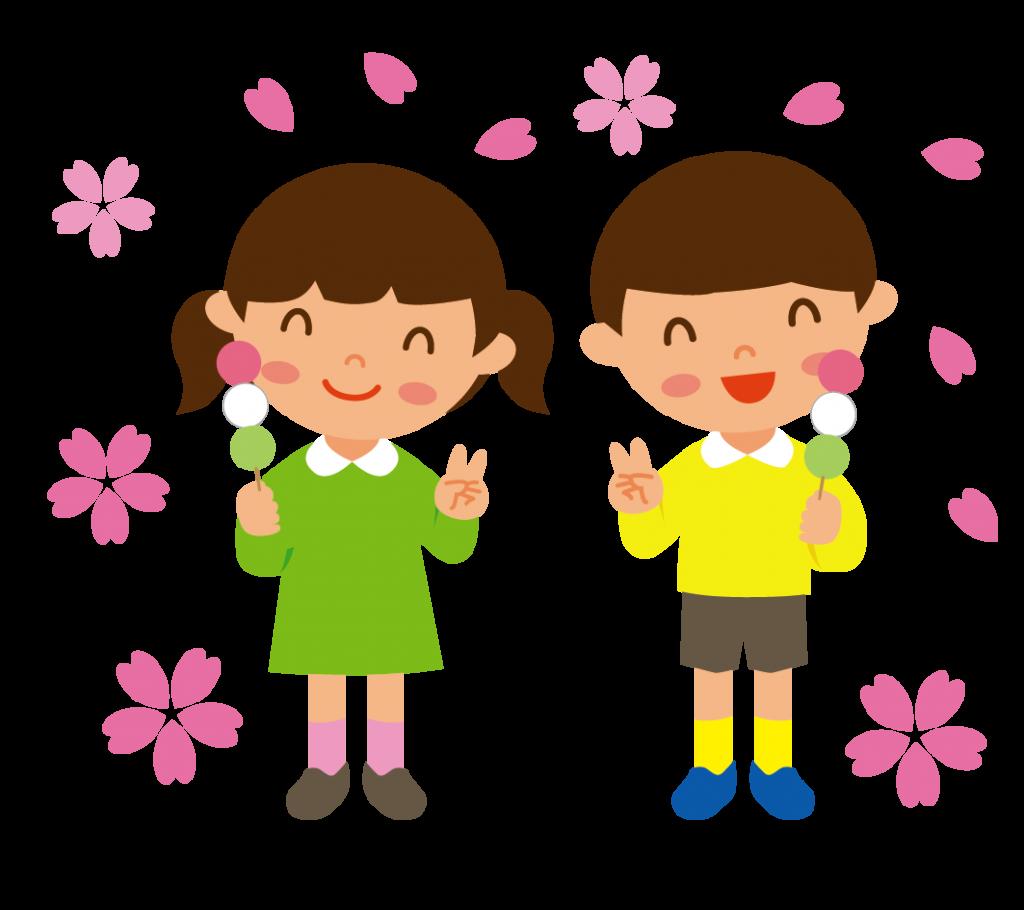 お団子を食べる子どもたち(全身)のイラスト