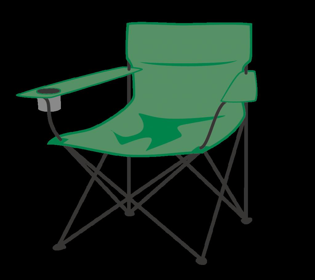 アウトドア用ラウンジチェア(緑)のイラスト