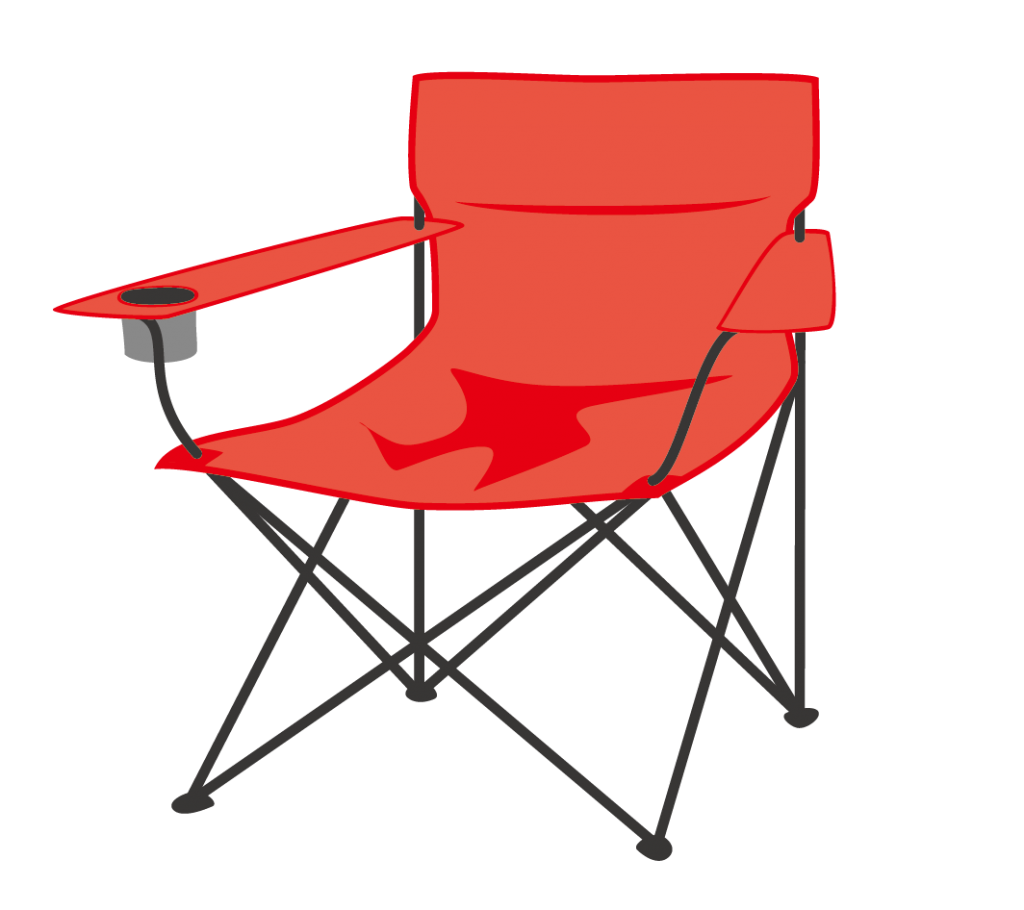 アウトドア用ラウンジチェア(赤)のイラスト