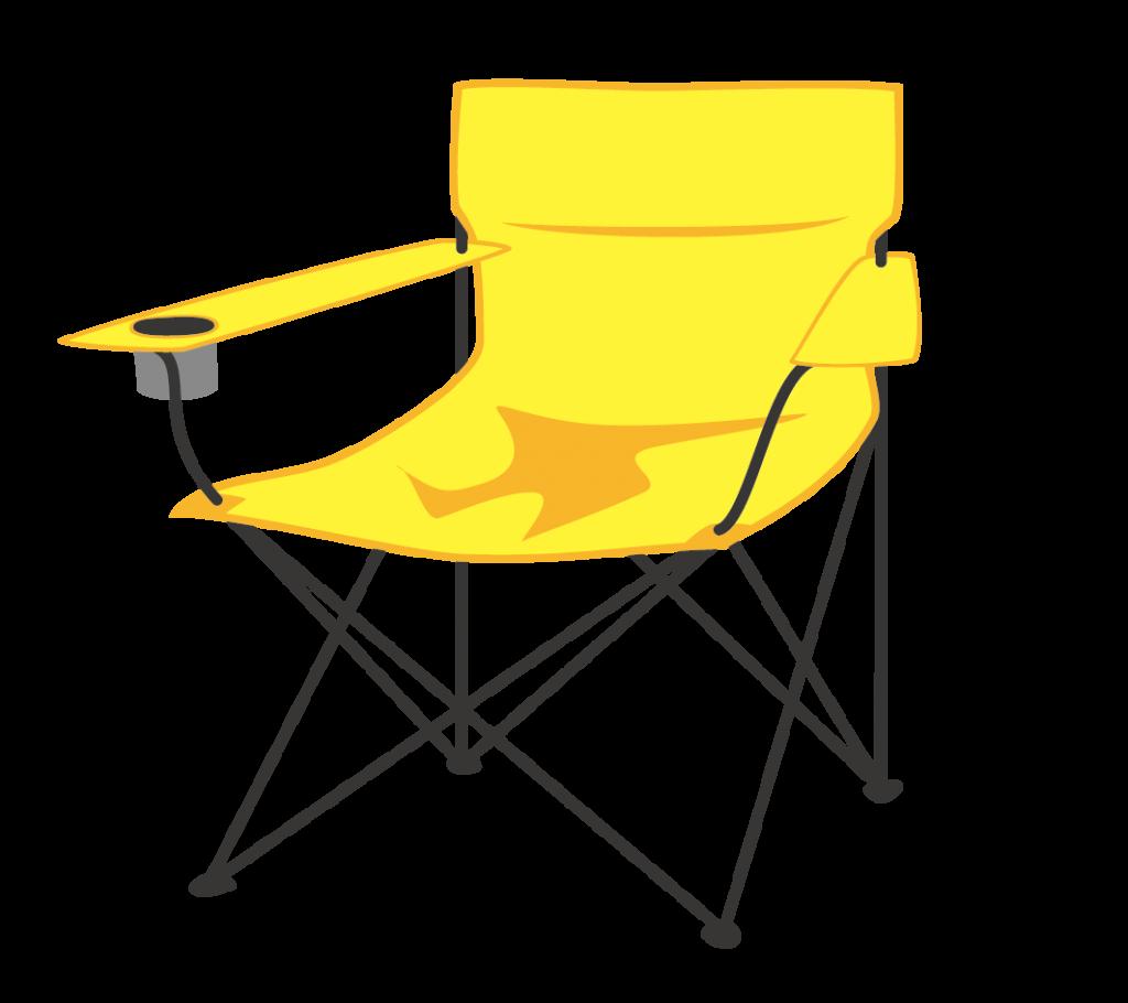 アウトドア用ラウンジチェア(黄)のイラスト