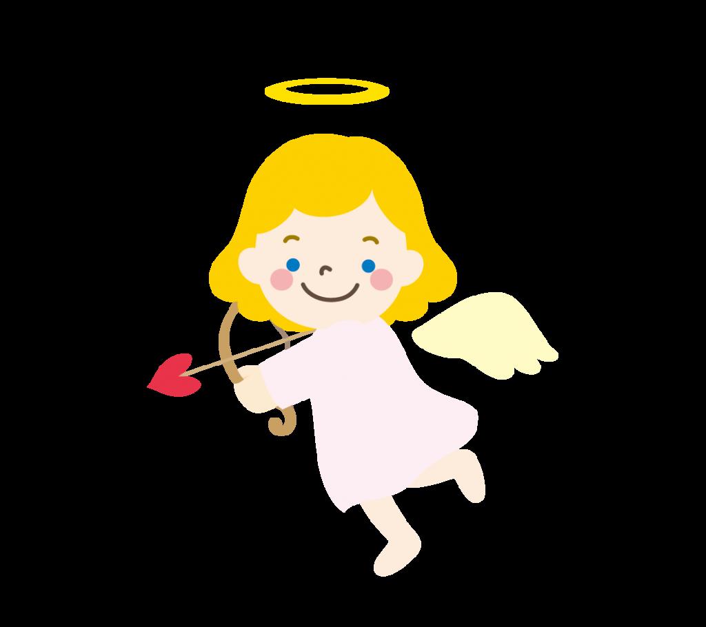 ハートの弓矢を持った天使のイラスト