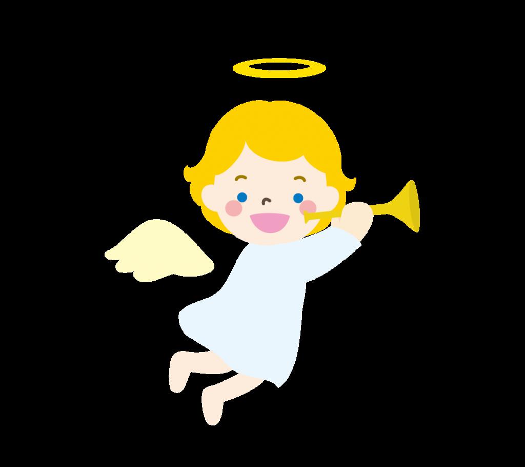 ラッパを吹く天使のイラスト
