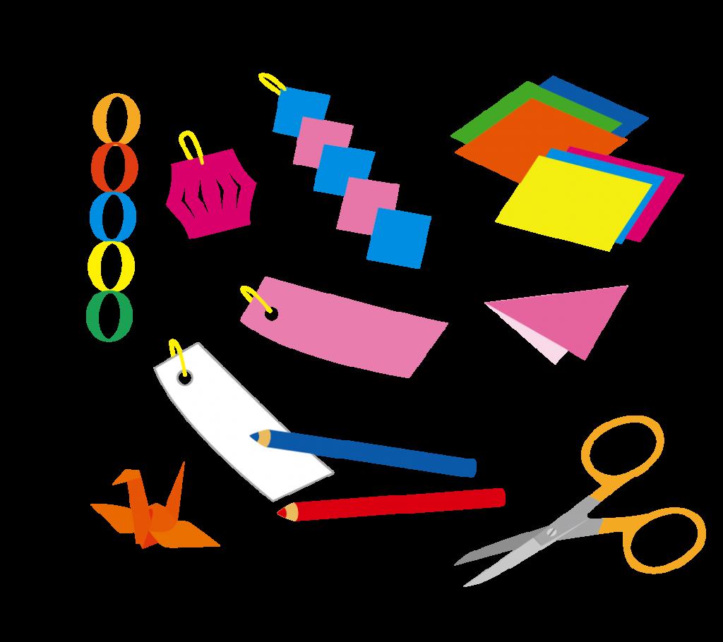 七夕飾り作りのイラスト
