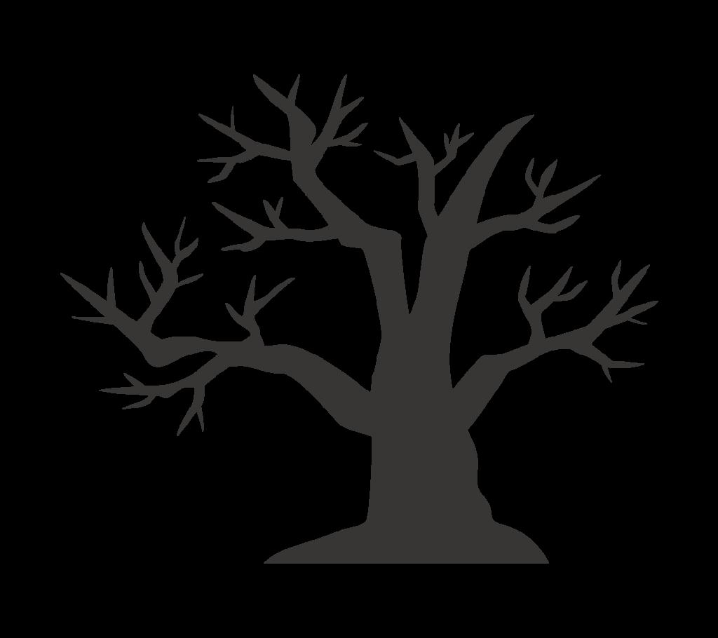 怪しい枯木(シルエット)のイラスト