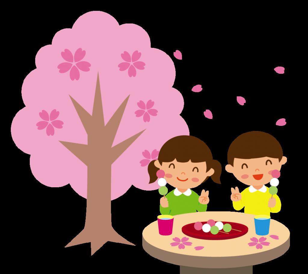 お花見でお団子を食べる子どもたちのイラスト