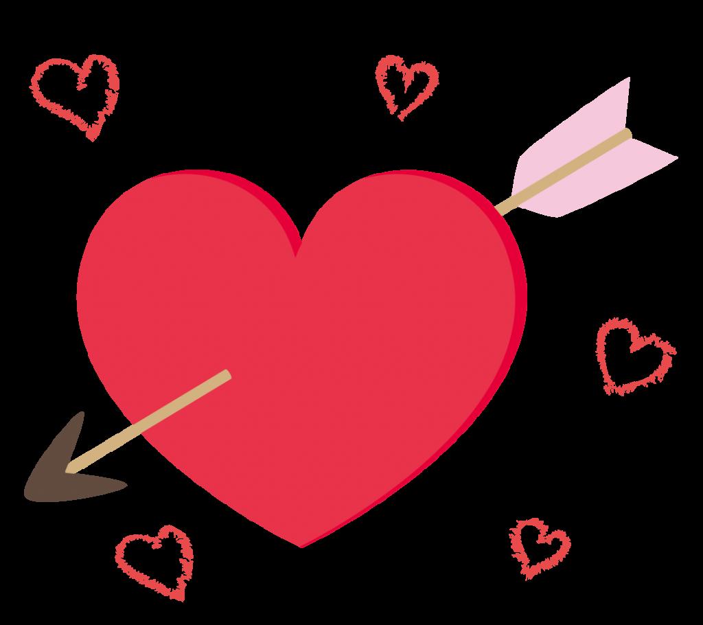 矢の刺さったハートのイラスト