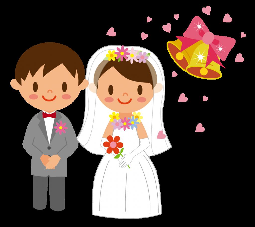 花婿と花嫁とウェディングベルのイラスト