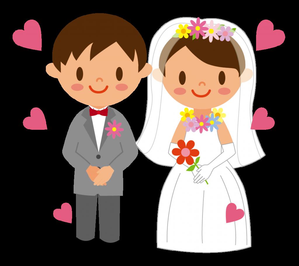 花婿と花嫁(全身)のイラスト