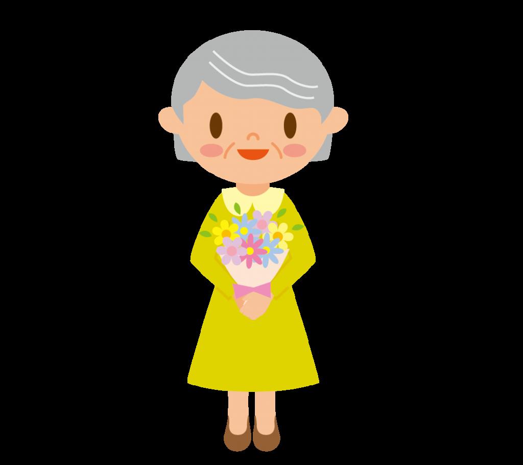 花束をもらったおばあさんのイラスト
