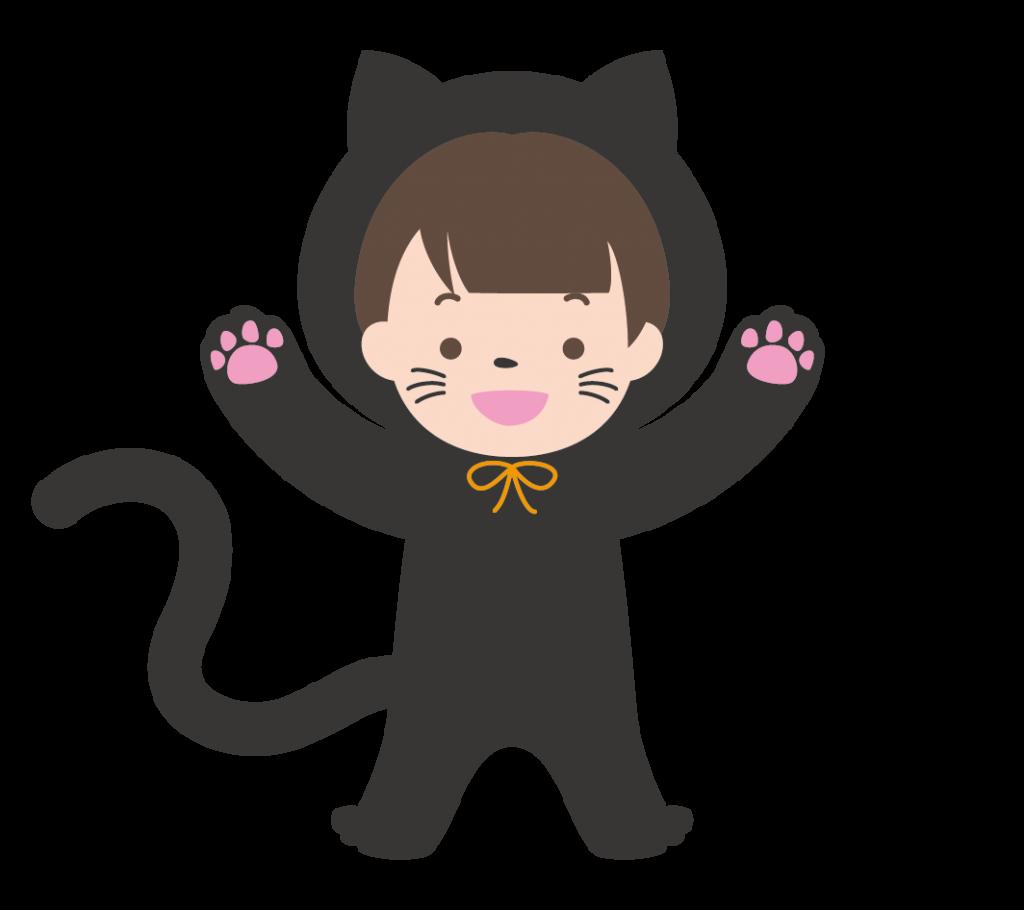 黒猫の仮装をした子供のイラスト