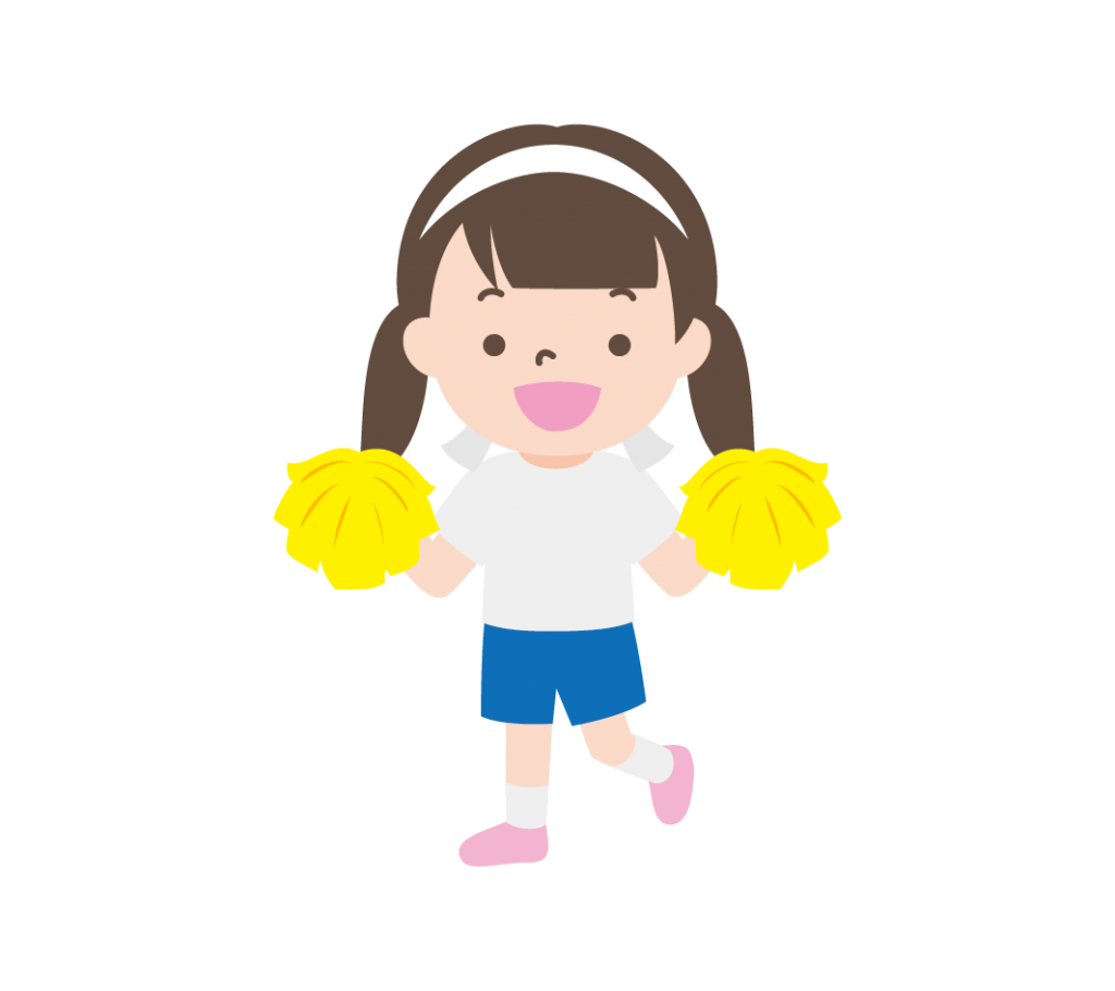 ポンポンを持って応援する女の子(白組)のイラスト