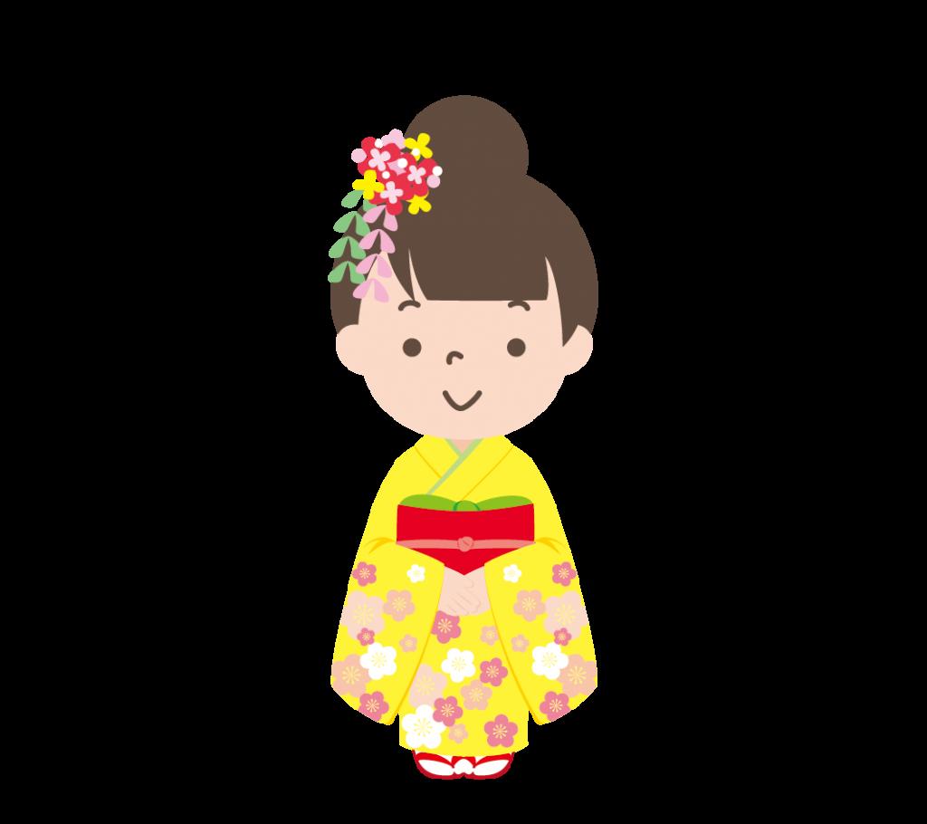 着物姿の女の子のイラスト