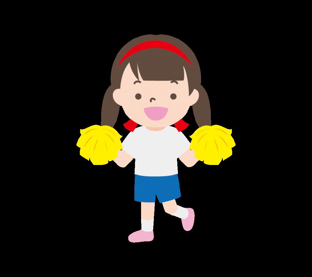ポンポンを持って応援する女の子(赤組)イラスト
