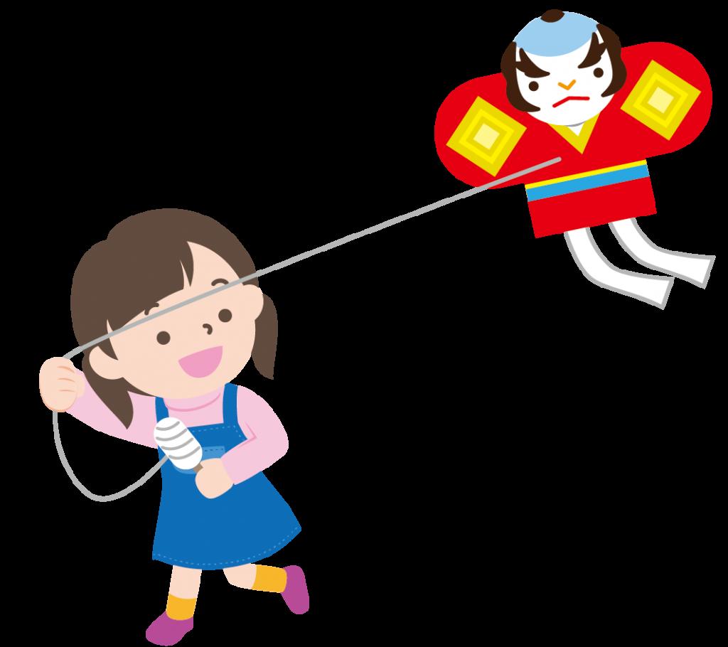 凧揚げをする女の子のイラスト