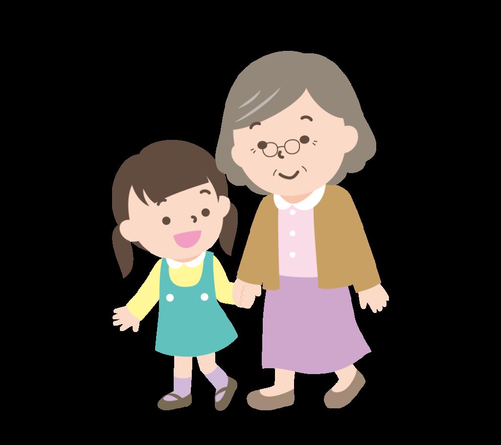 おばあちゃんと孫の女の子のイラスト