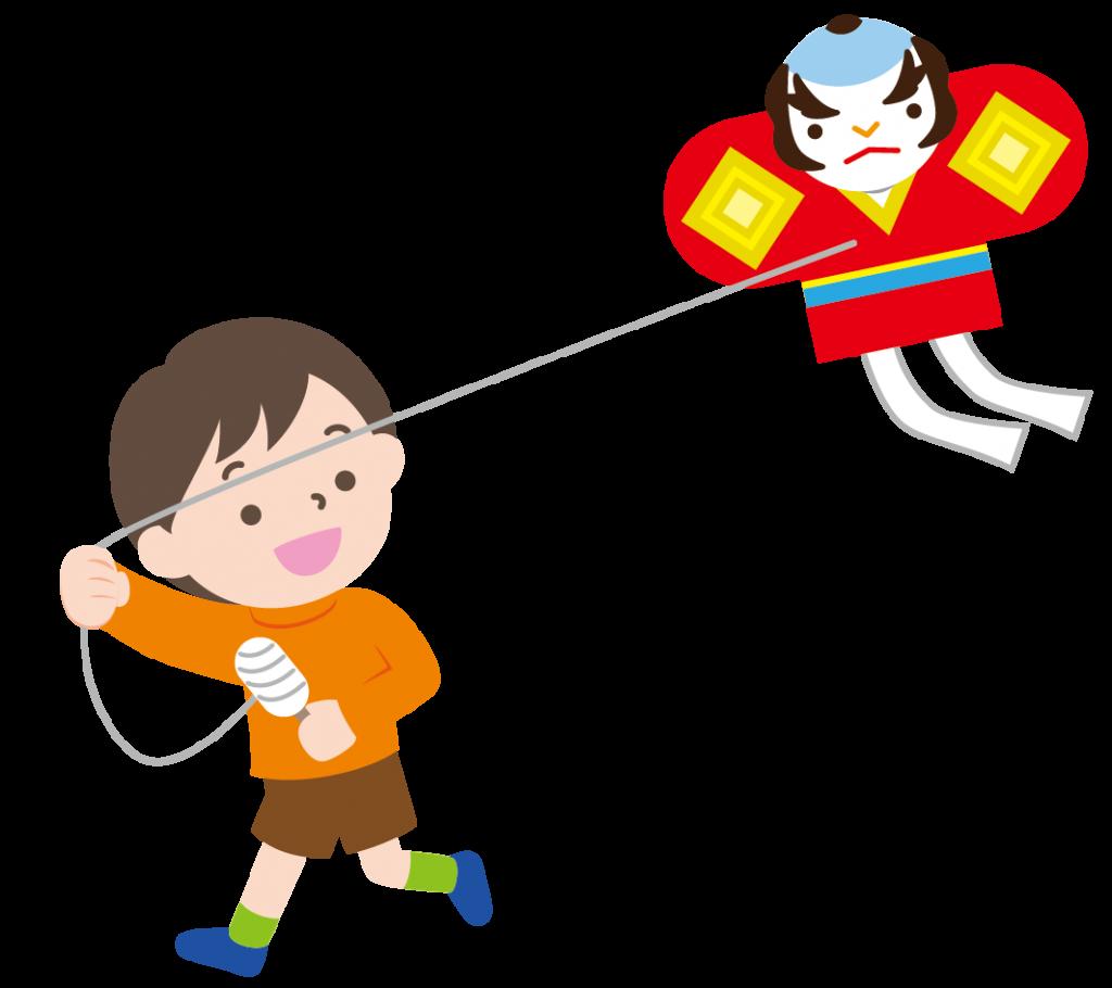 凧揚げをする男の子のイラスト