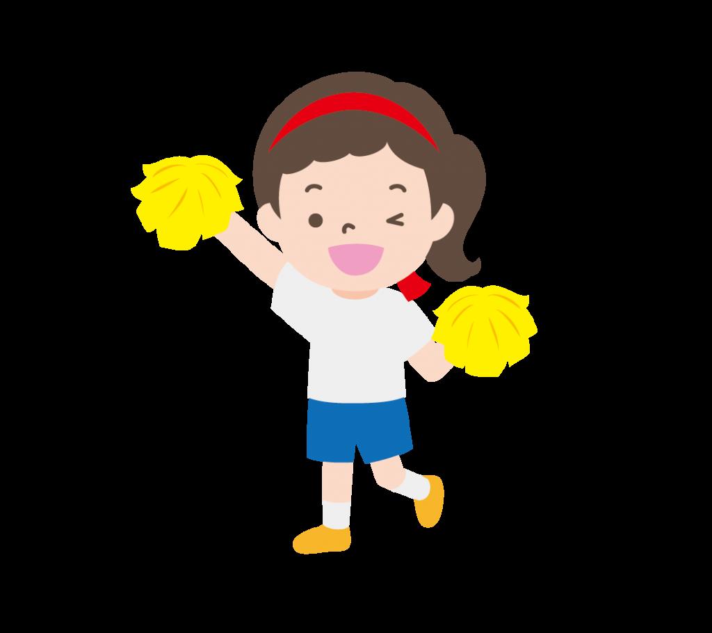ポンポンを持って応援する女の子(赤組)のイラスト