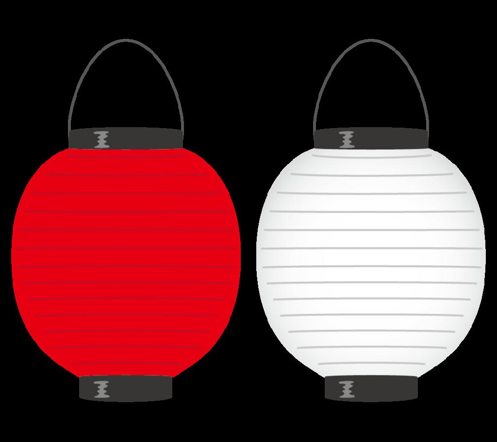 無地の提灯(赤・白)のイラスト