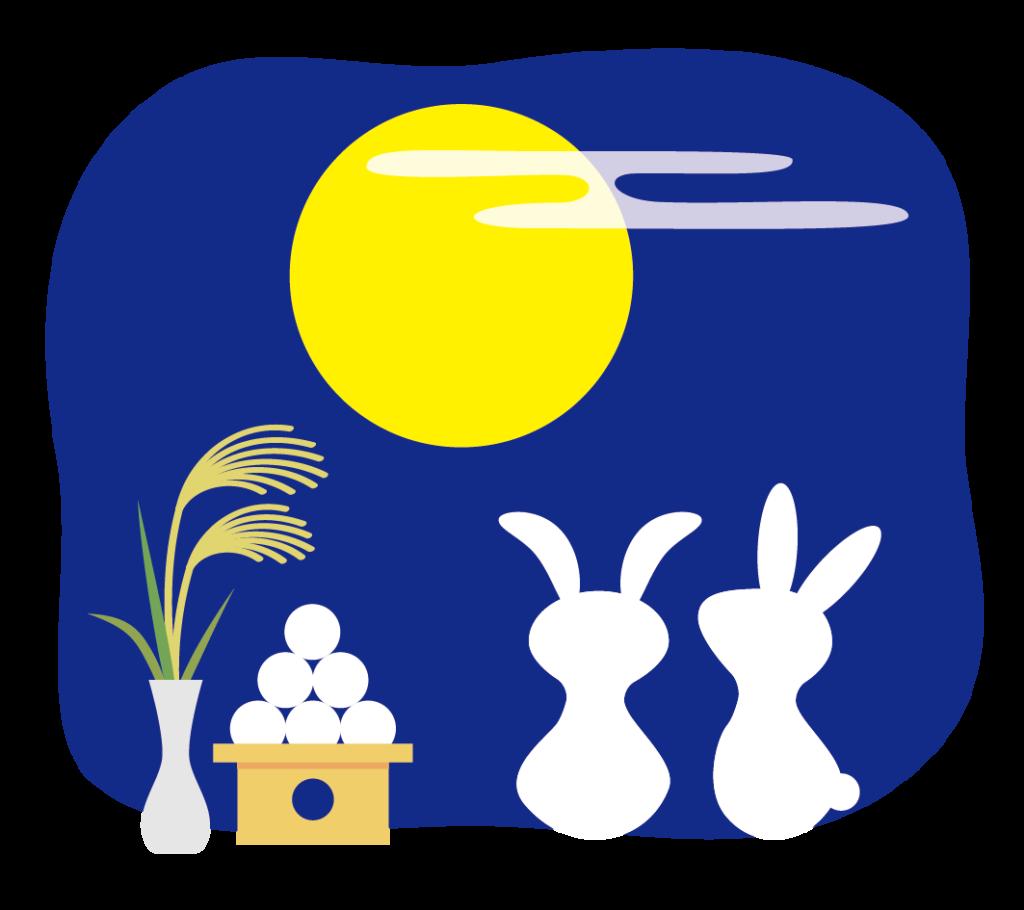 月と月見だんごとすすきと2匹のウサギのイラスト