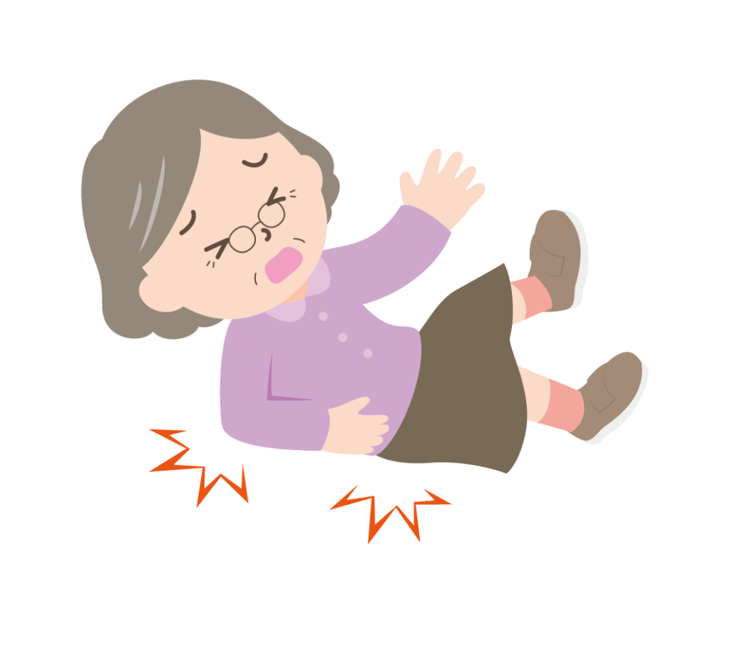 転倒したおばあちゃんのイラスト