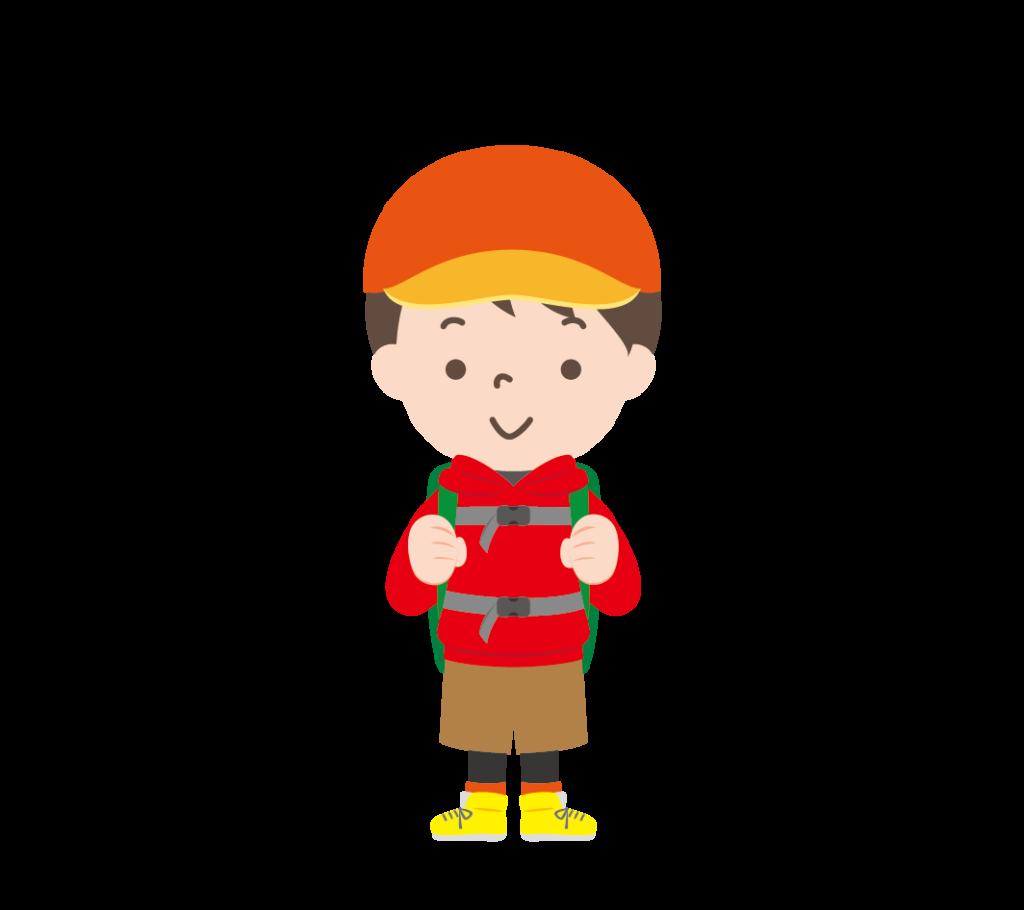山登りの格好をした男の子のイラスト