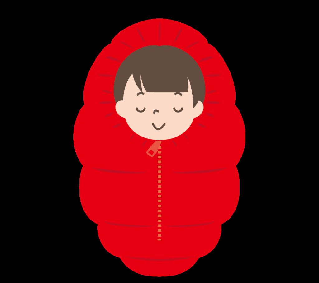 寝袋で寝る女の子のイラスト