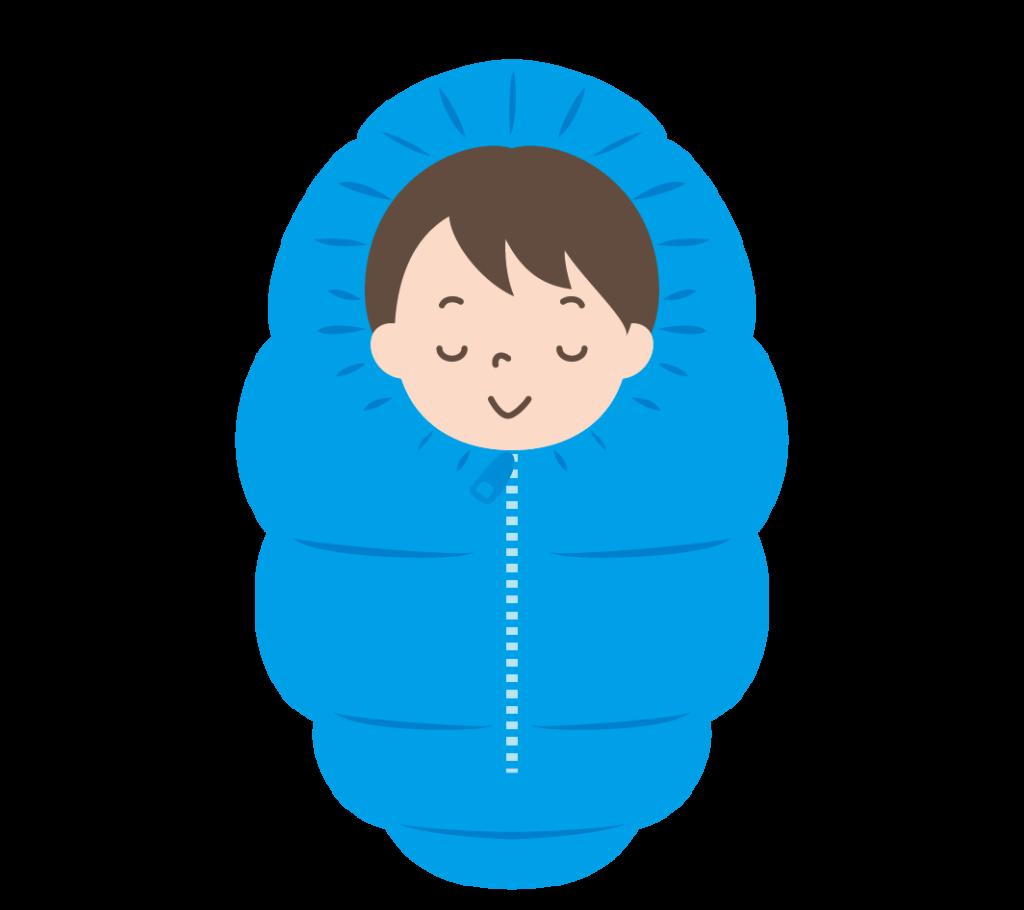 寝袋で寝る男の子のイラスト
