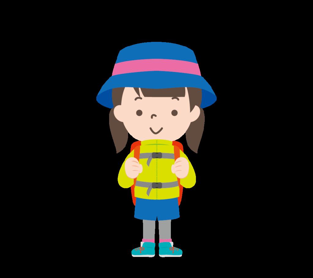 山登りの格好をした女の子のイラスト
