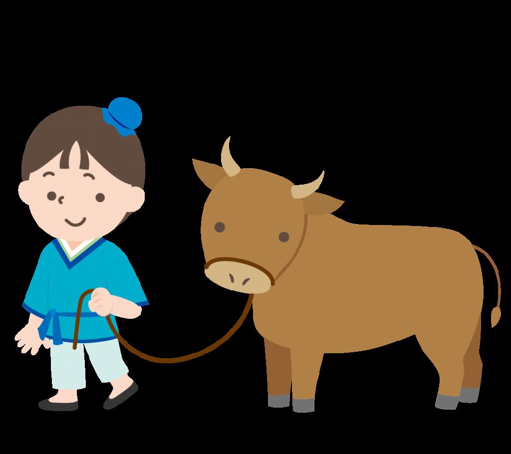 牛を引く彦星のイラスト