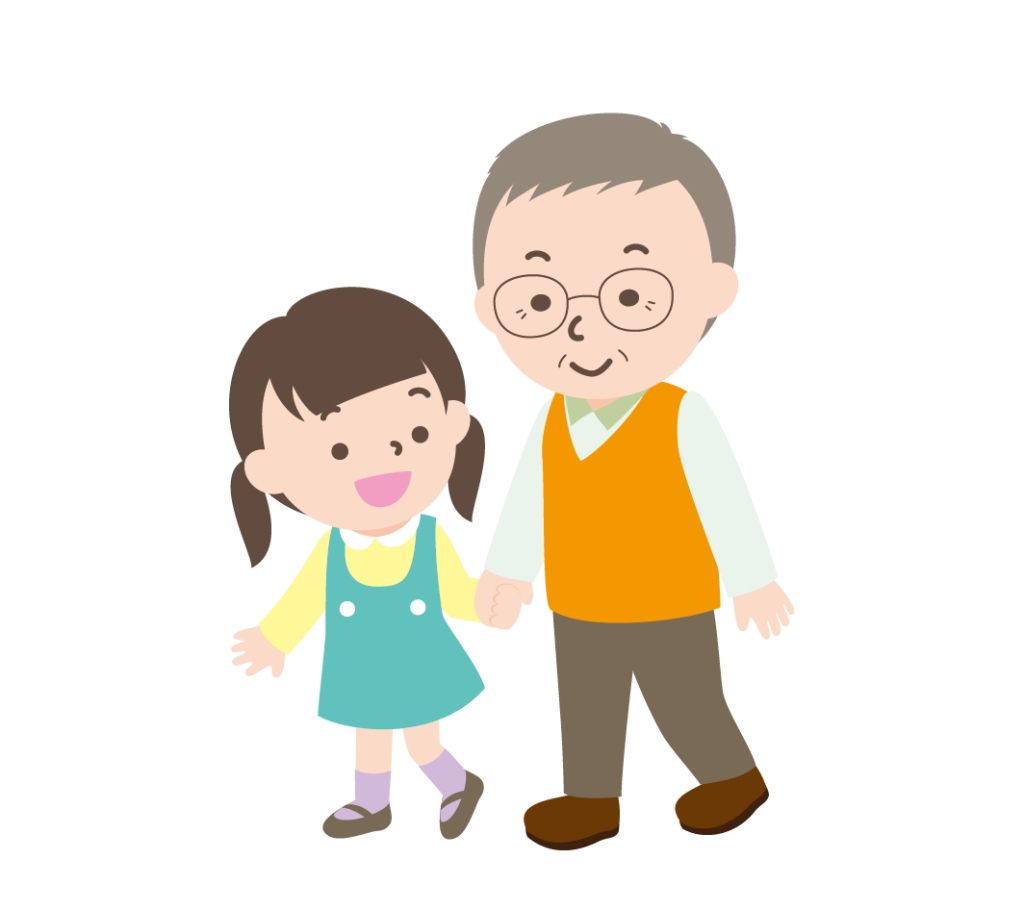 おじいちゃんと孫の女の子のイラスト