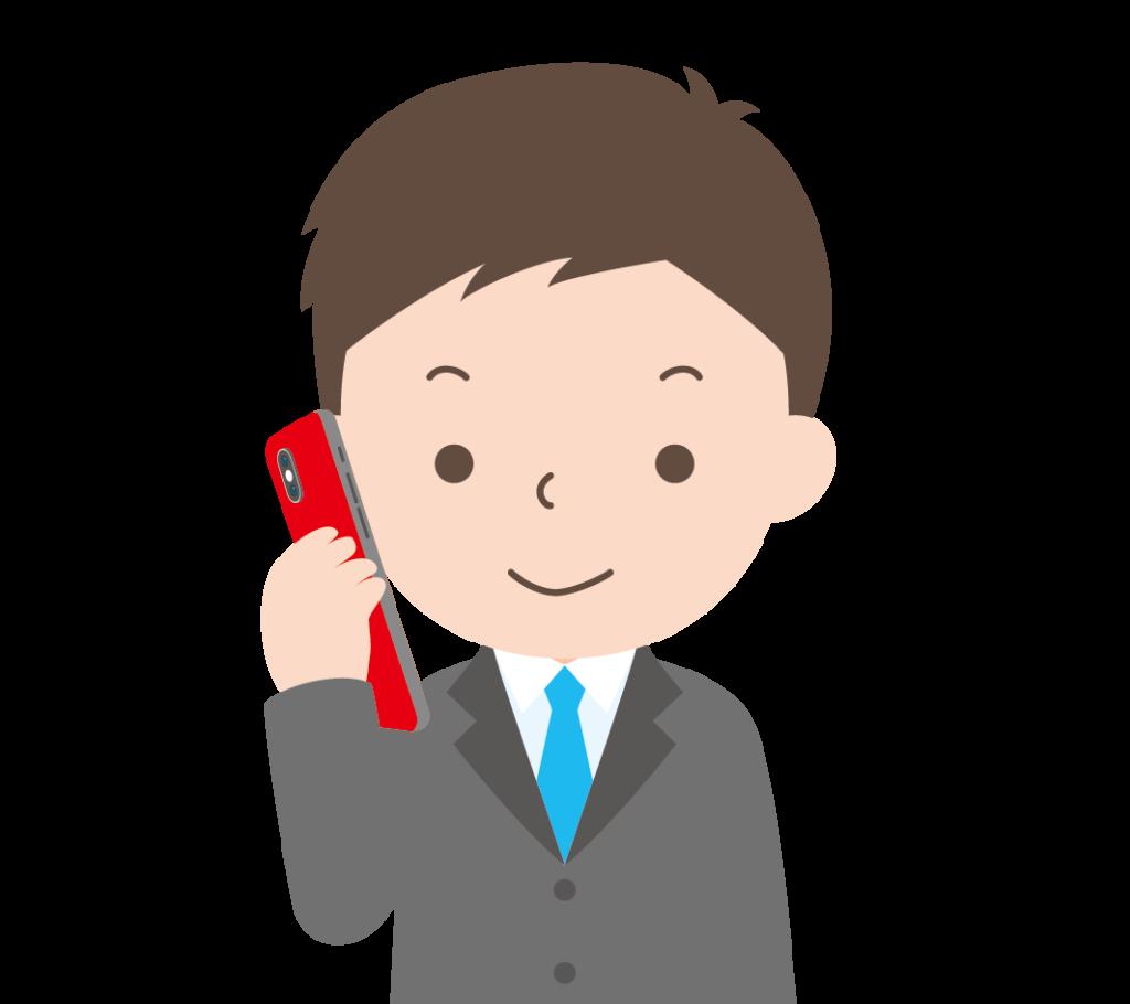 スマートフォンで電話する男性のイラスト