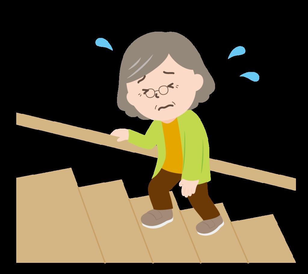 階段を登るのがしんどいおばあちゃんのイラスト
