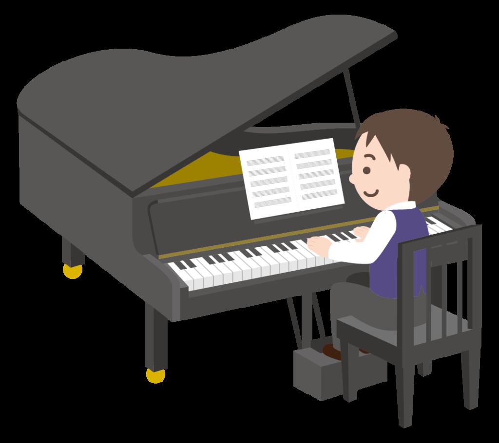グランドピアノを弾く男の子のイラスト