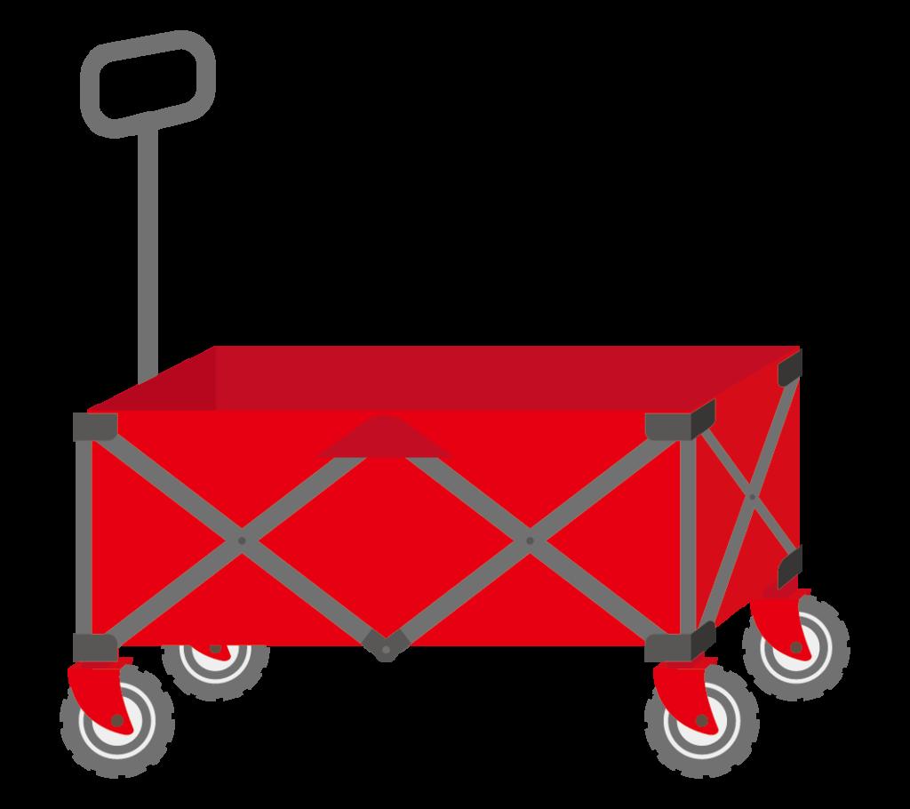 キャリーカート(赤色)のイラスト