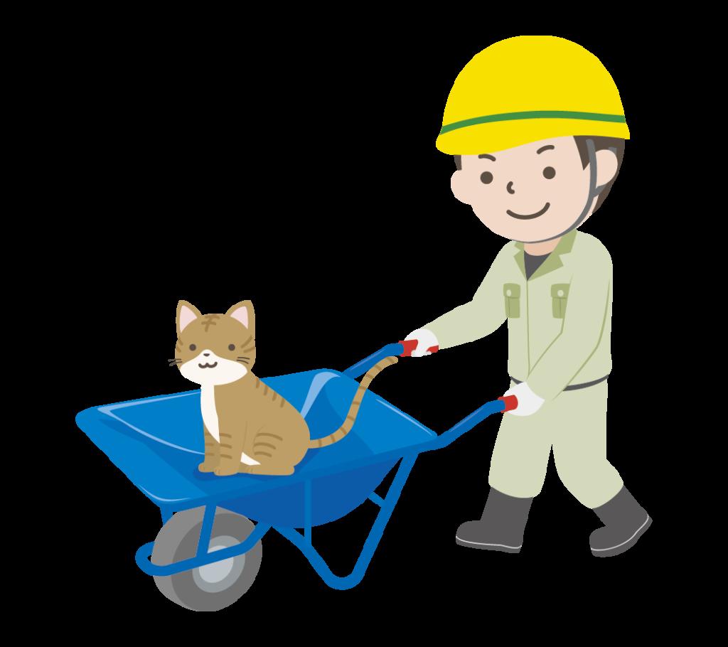 猫の乗った猫車を押して歩く男性作業員のイラスト