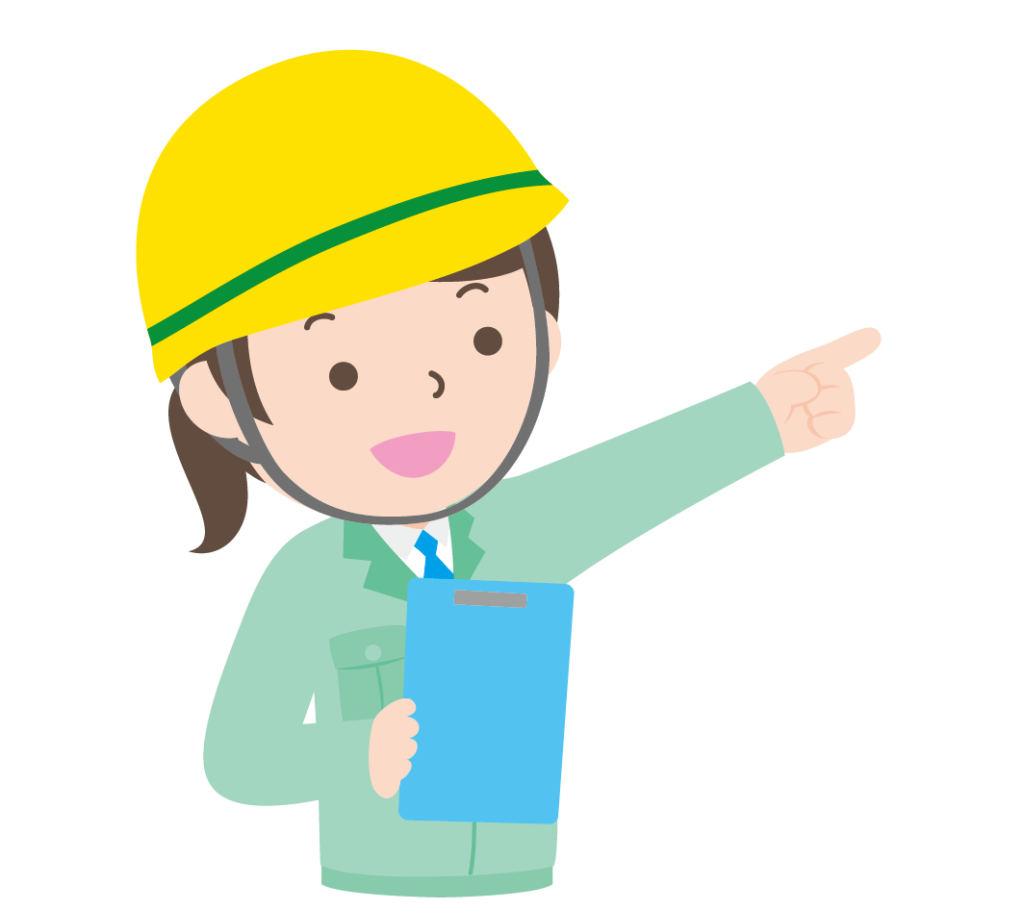指示をする作業服姿の女性のイラスト
