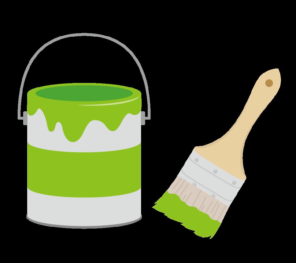 ペンキと刷毛(緑)のイラスト