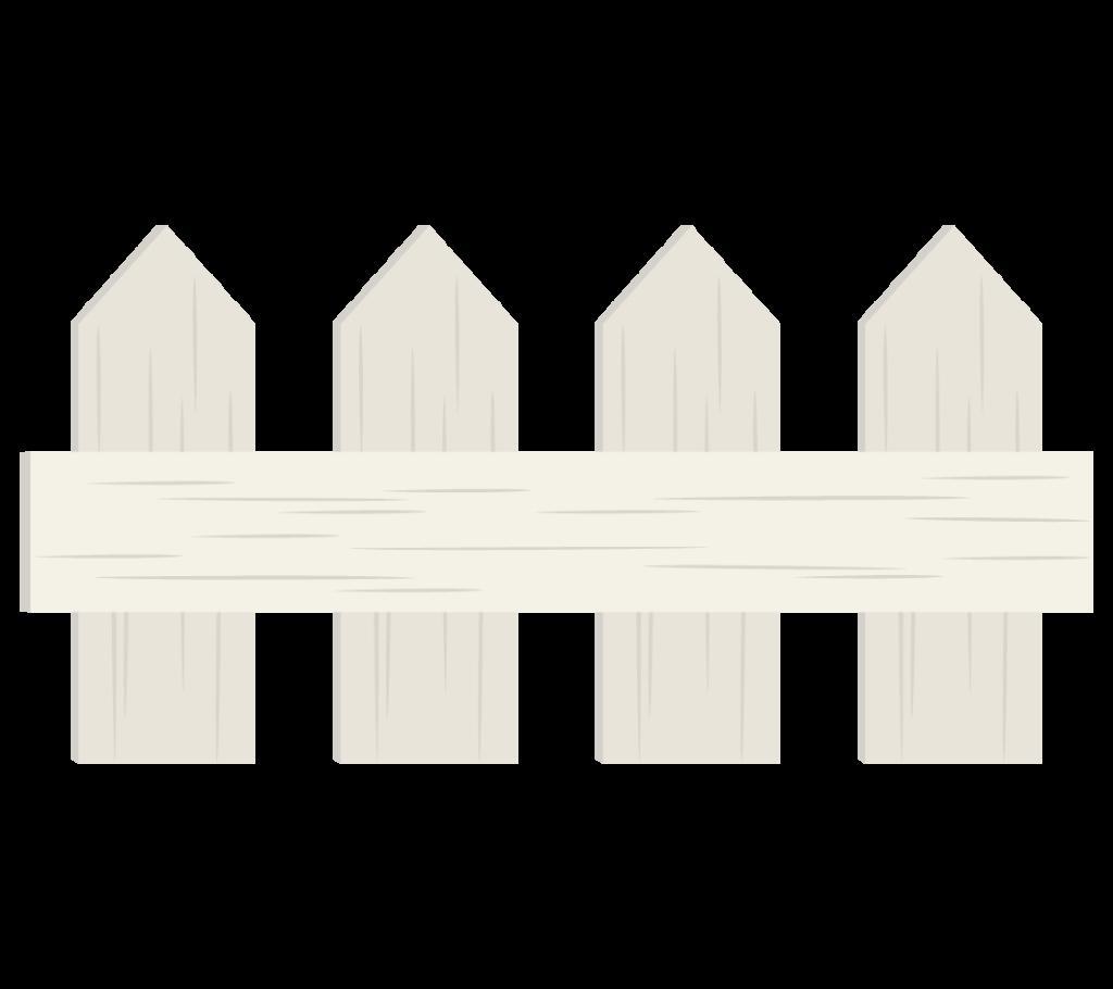 木の柵(白色)のイラスト