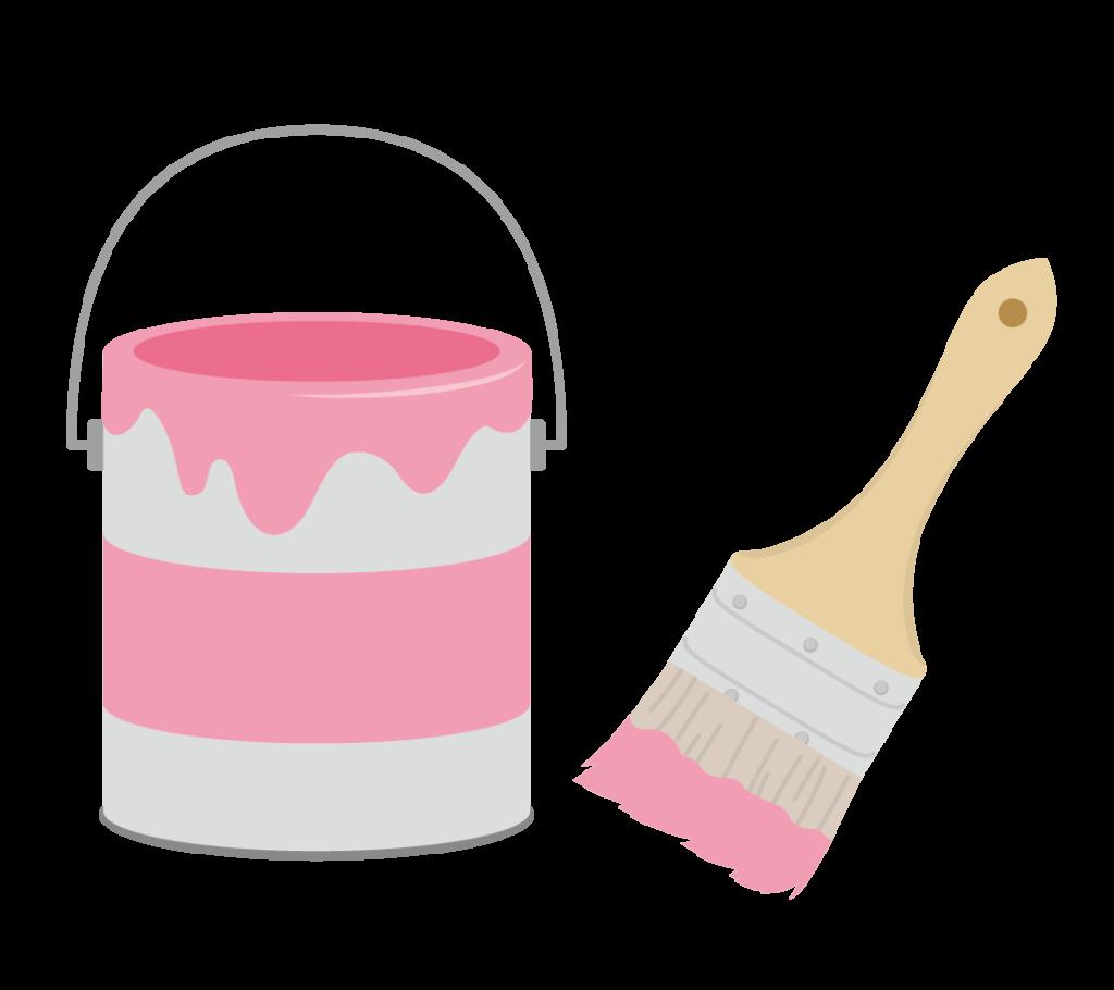 ペンキと刷毛(ピンク)のイラスト