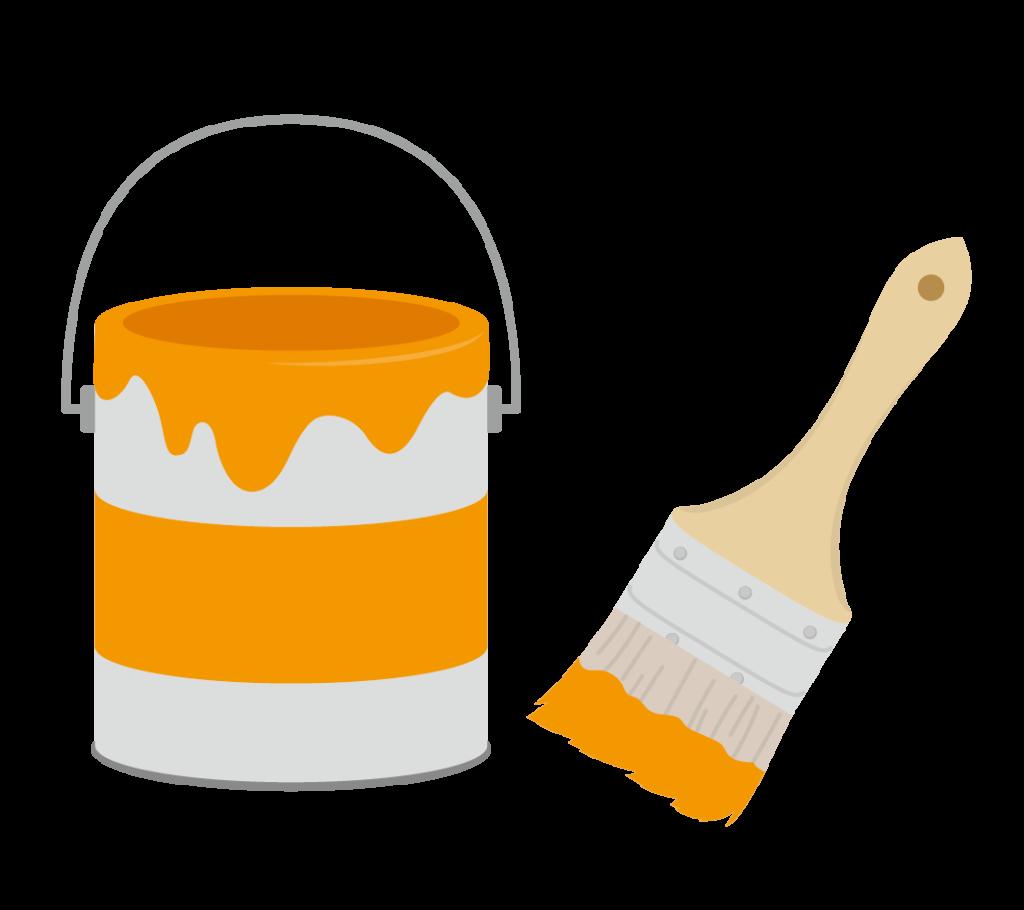 ペンキと刷毛(オレンジ)のイラスト
