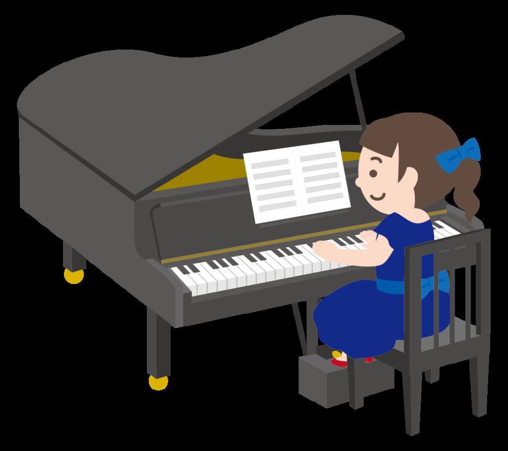グランドピアノを弾く女の子のイラスト