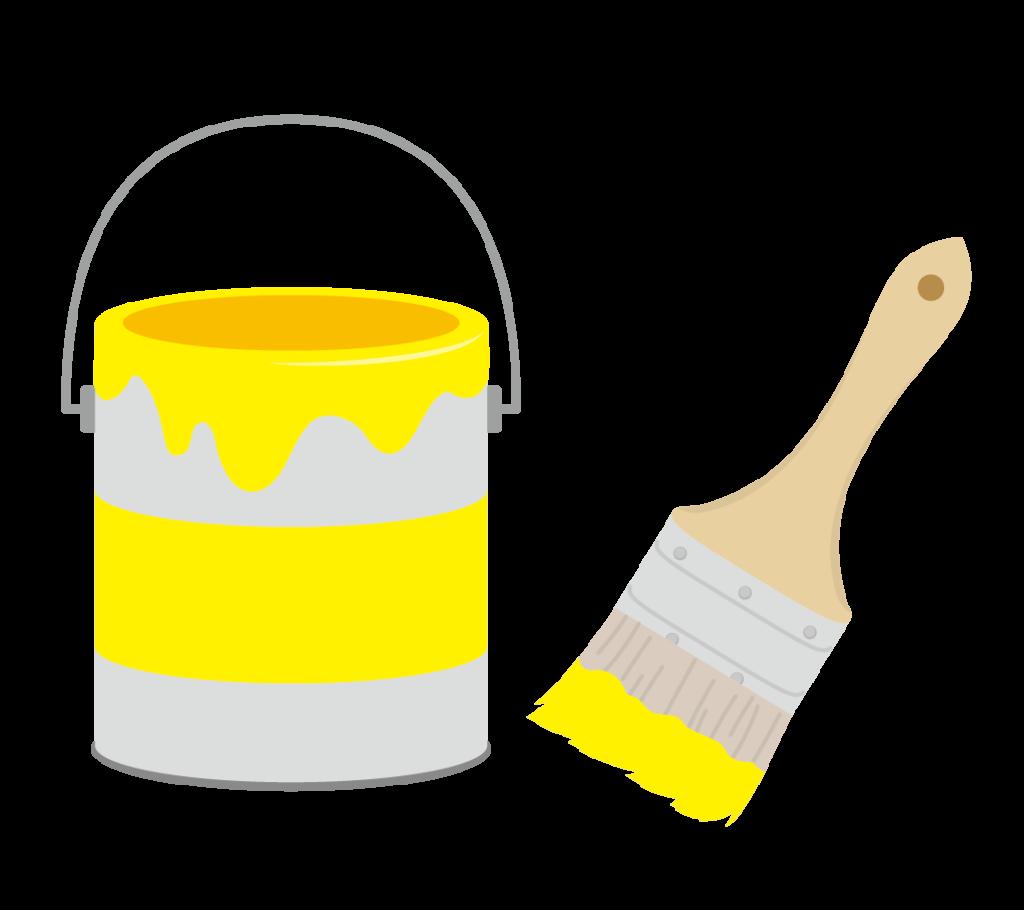 ペンキと刷毛(黄)のイラスト