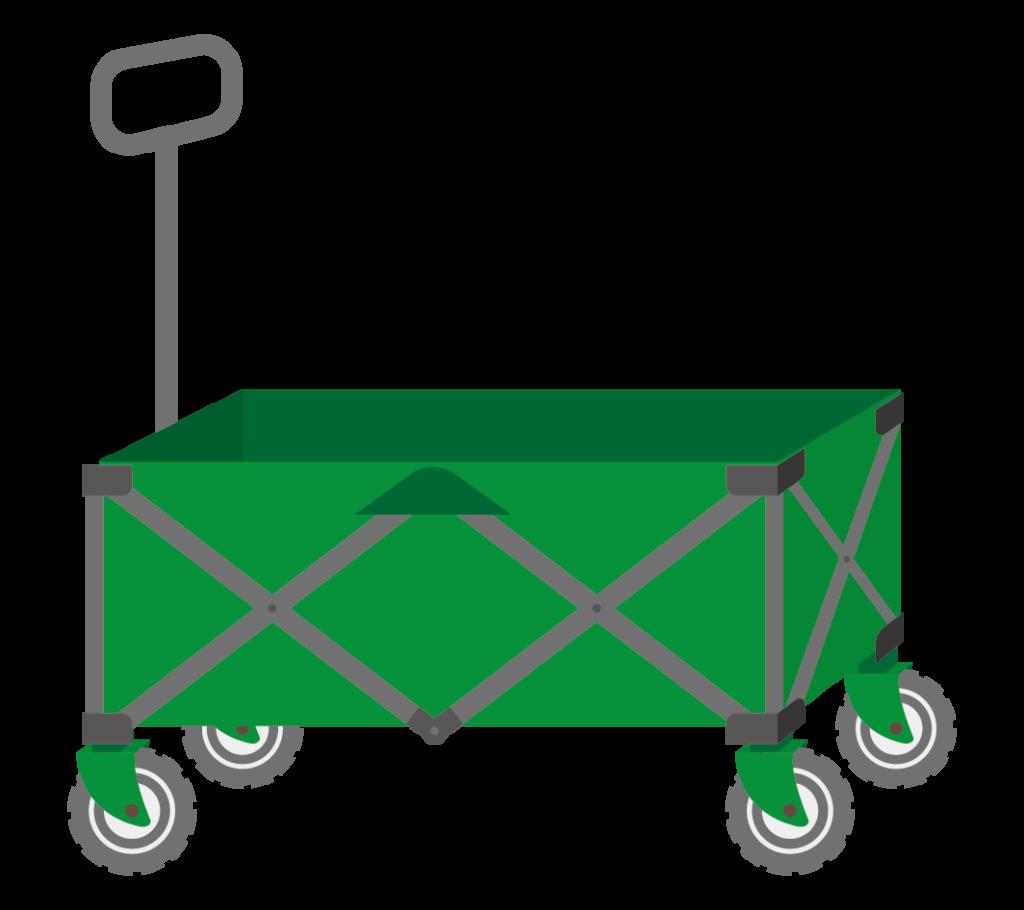 キャリーカート(緑色)のイラスト