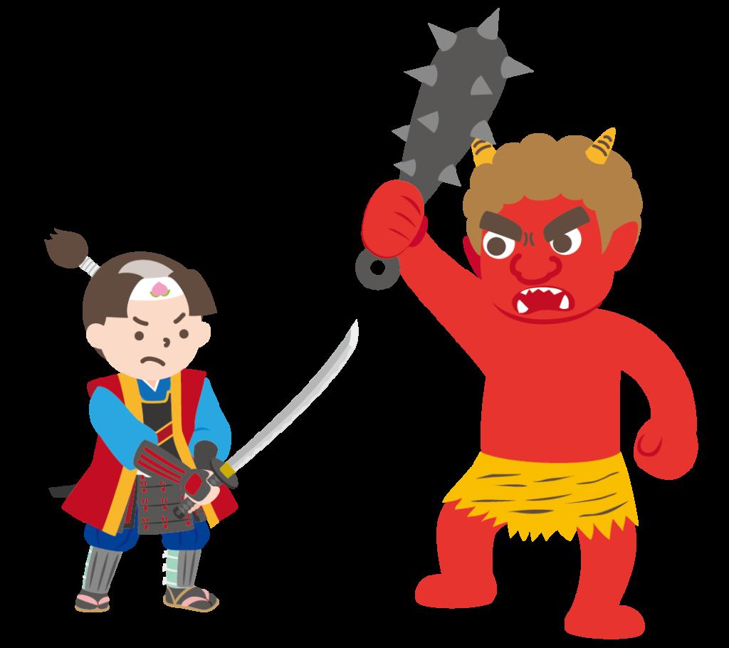 赤鬼と戦う桃太郎のイラスト