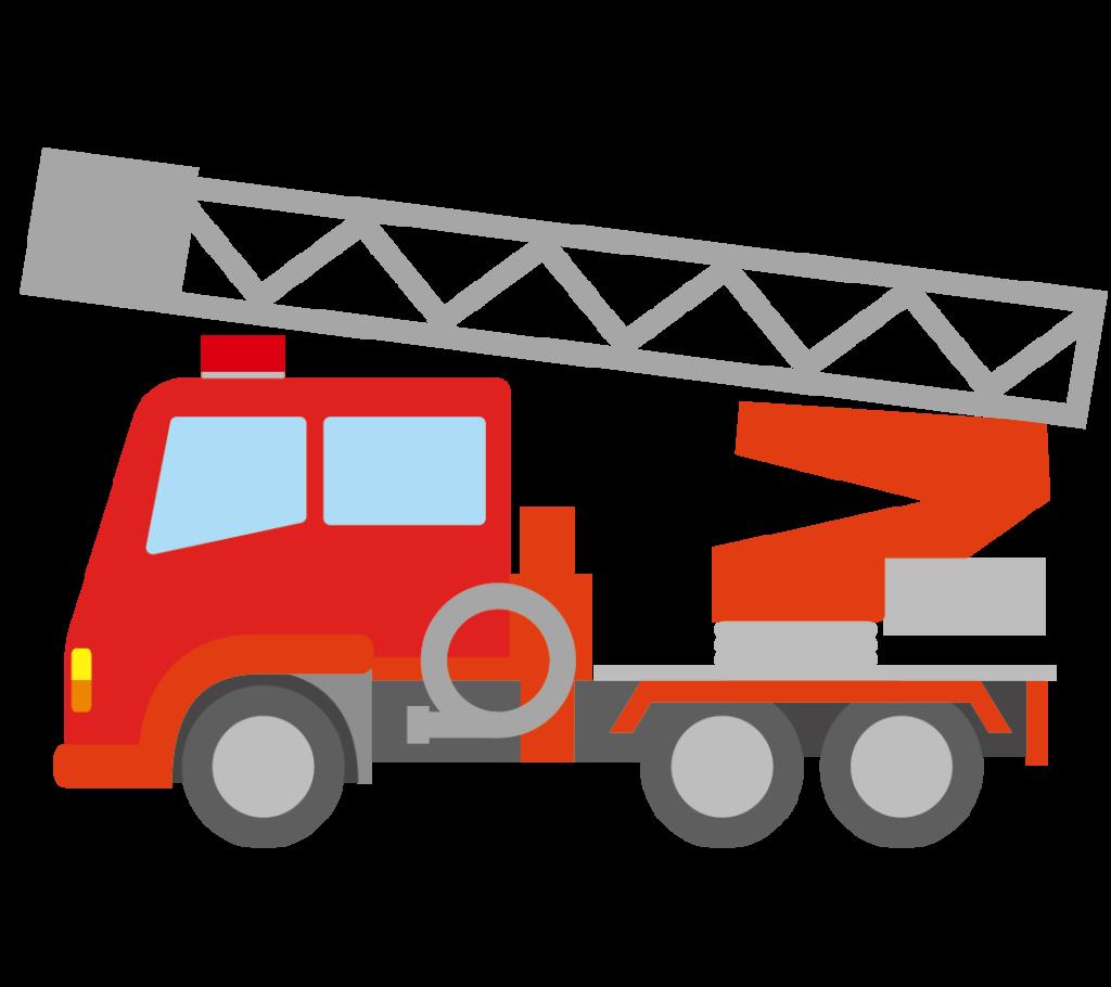消防自動車(はしご車)のイラスト
