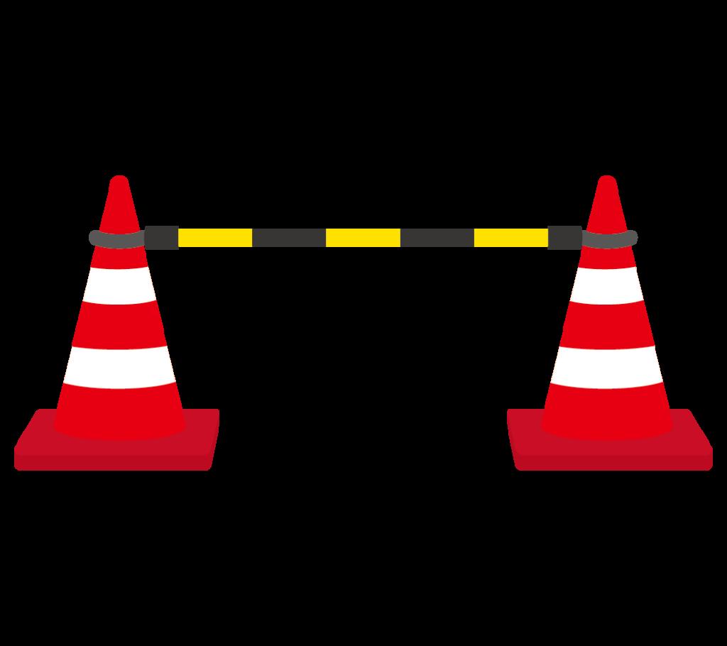 三角コーン(カラーコーン)とコーンバーのイラスト