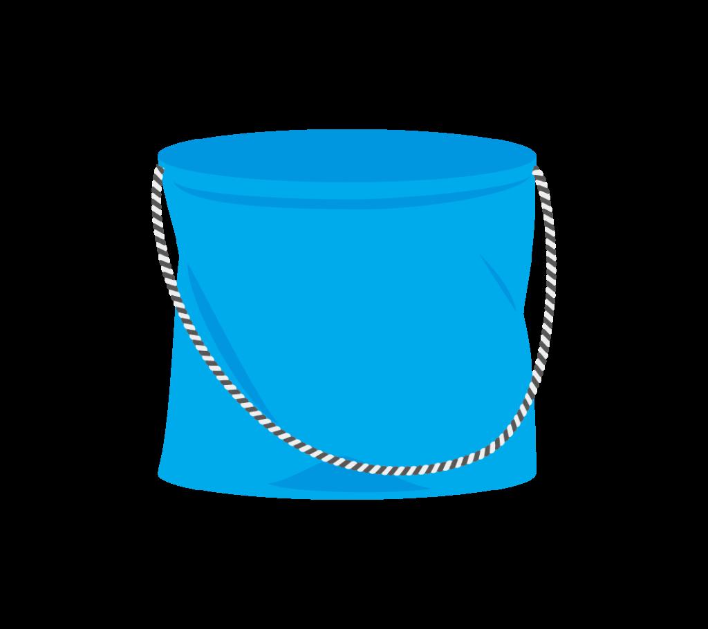 釣り用のバケツ(青色)のイラスト