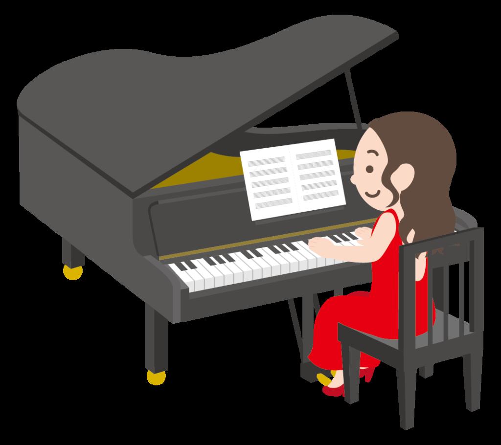 グランドピアノを弾く女性のイラスト