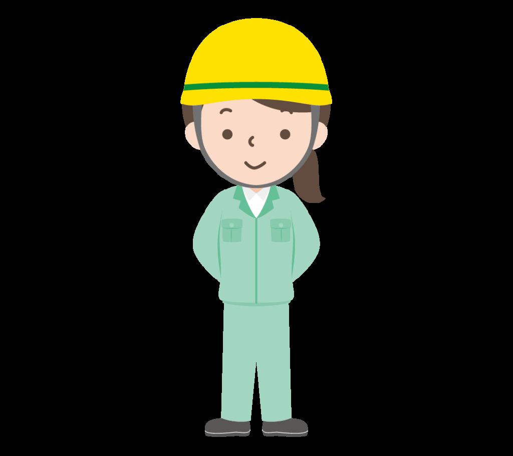 作業服姿にヘルメット姿の女性のイラスト
