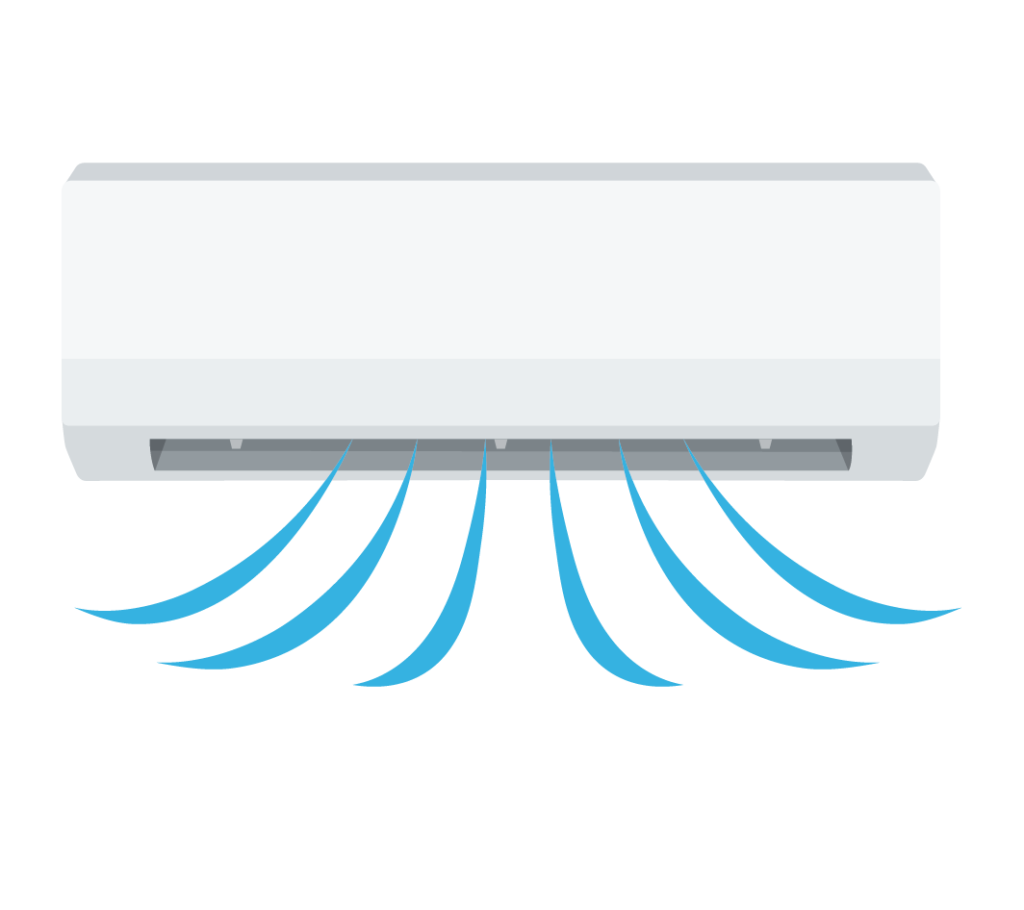 冷房運転中のエアコンのイラスト